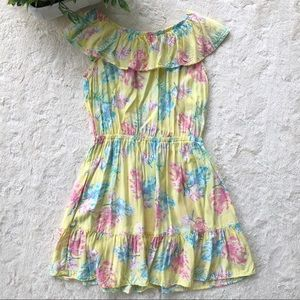 Oshkosh yellow floral off shoulder ruffle dress